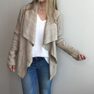 My Tribe Leather Strips Cream Shawl collar jacket